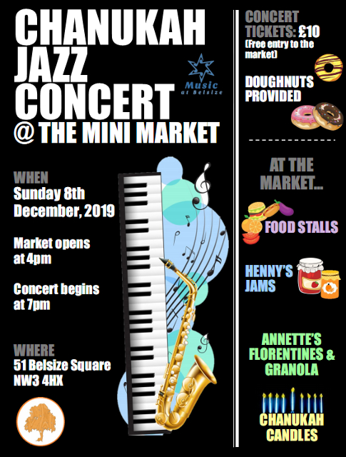 Flyer for Chanukah concert and mini-market
