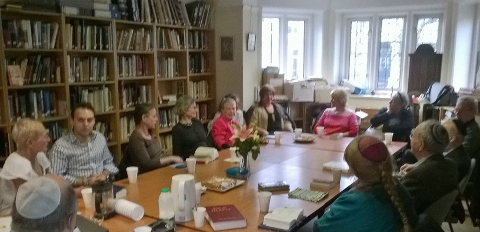 The adult discussion group meeting in the BSS library