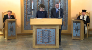 Co-chairs speaking at 75th anniversary civic service